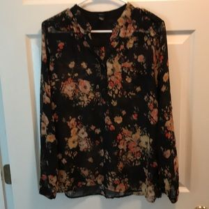 Forever 21 - Black and Floral Sheer Blouse